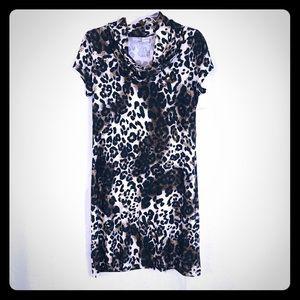 NWT🌟 LIZ CLAIBORNE Leopard Dress Cowl Neck M